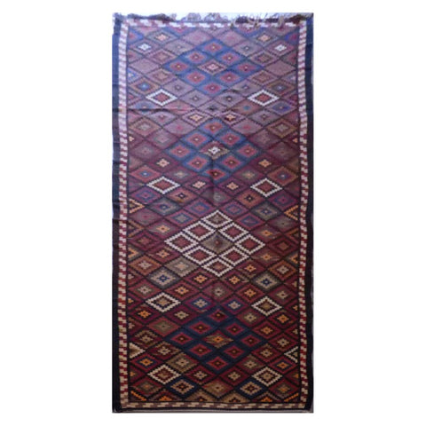 AFGHANI MAIMANA HAND-KNOTTED KILIM MADE WITH NATURAL WOOL AND COTTON 14'4'' X 4'2'' ABC116