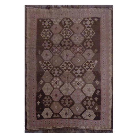 AFGHANI MAIMANA HAND-KNOTTED KILIM MADE WITH NATURAL WOOL AND COTTON 7'8'' X 4'7'' ABC275