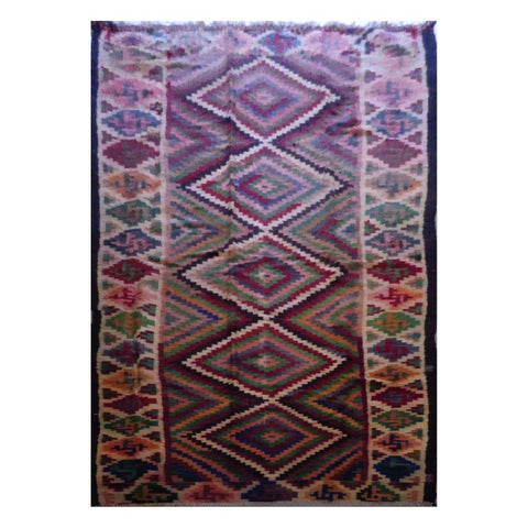 PERSIAN VINTAGE HAND-KNOTTED KILIM MADE WITH NATURAL WOOL AND COTTON 383 X 150cm ABC1983