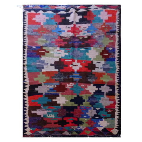 PERSIAN VINTAGE HAND-KNOTTED KILIM MADE WITH NATURAL WOOL AND COTTON 243 X 128cm ABC1584