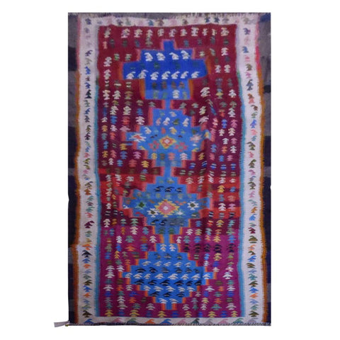 PERSIAN VINTAGE HAND-KNOTTED KILIM MADE WITH NATURAL WOOL AND COTTON 250 X 120cm ABC1647