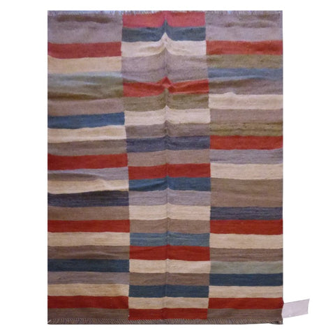 "AFGHANI MAIMANA HAND-KNOTTED KILIM MADE WITH NATURAL WOOL AND COTTON 4'10"" X 6'9"" ABC173"