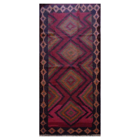 PERSIAN VINTAGE HAND-KNOTTED KILIM MADE WITH NATURAL WOOL AND COTTON 264 X 125cm ABC11