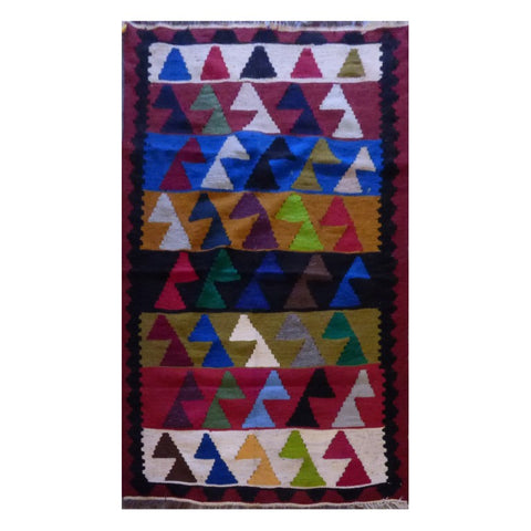 "AFGHANI MAIMANA HAND-KNOTTED KILIM MADE WITH NATURAL WOOL AND COTTON 5'1"" X 3'5'' ABC261"