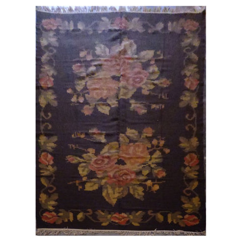 TURKISH  HAND-KNOTTED KILIM MADE WITH NATURAL WOOL AND COTTON 6'2'' X 9'10'' ABC21225