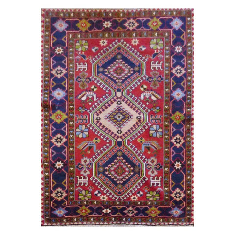 PERSIAN YALAMEH HAND-KNOTTED RUG MADE WITH NATURAL WOOL AND COTTON 5'2'' X 3'6'' ABC2433
