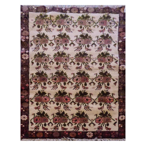 PERSIAN SAVEH HAND-KNOTTED RUG MADE WITH NATURAL WOOL AND COTTON 4'7'' X 3'3'' ABC2817