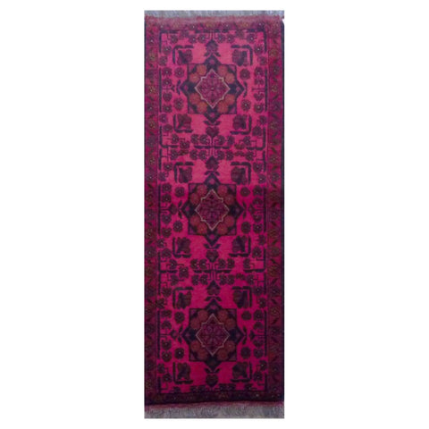 "PAKISTANI PESHAWAR HAND-KNOTTED RUG MADE WITH NATURAL WOOL & COTTON 5'2"" X 1'10"" ABC4533"