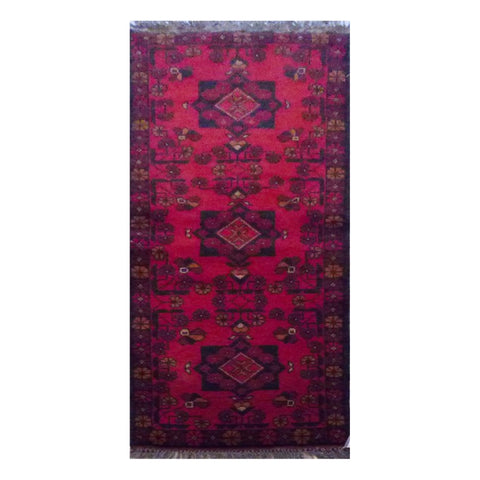 "PAKISTANI PESHAWAR HAND-KNOTTED RUG MADE WITH NATURAL WOOL & COTTON 4'9"" X 1'8"" ABC4531"