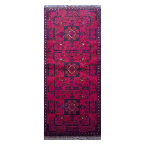 "PAKISTANI PESHAWAR HAND-KNOTTED RUG MADE WITH NATURAL WOOL & COTTON 6'4"" X 2'11"" ABC4515"