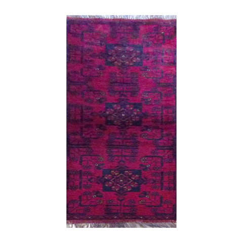 "PAKISTANI PESHAWAR HAND-KNOTTED RUG MADE WITH NATURAL WOOL & COTTON 1'11"" X 5'6"" ABC4535"