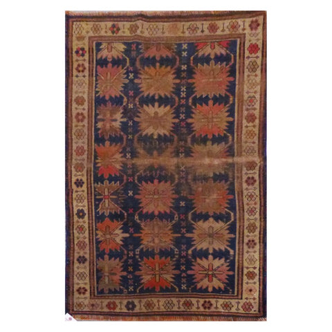 "PAKISTANI PESHAWAR HAND-KNOTTED RUG MADE WITH NATURAL WOOL & COTTON 3'4"" X 4'3"" ABC4551"