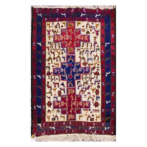"PERSIAN MOGHAN  HAND-KNOTTED KILIM MADE WITH NATURAL WOOL AND COTTON 4'9"" X 3'5''  ABC276"