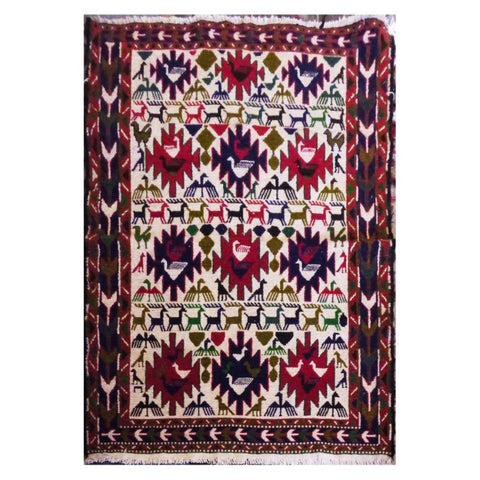 "PERSIAN MOGHAN  HAND-KNOTTED KILIM MADE WITH NATURAL WOOL AND COTTON 4'9"" X 3'5''  ABC280"