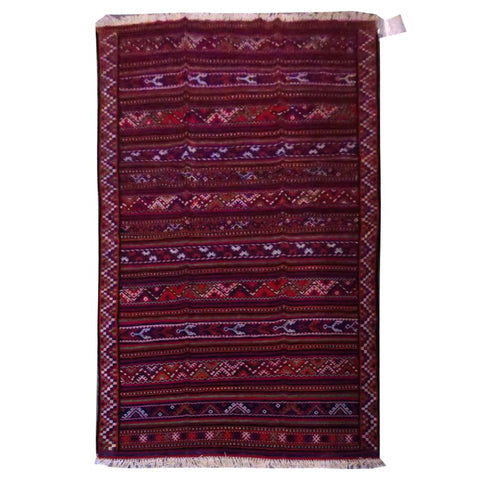 "PERSIAN MOGHAN  HAND-KNOTTED KILIM MADE WITH NATURAL WOOL AND COTTON 8'10"" X 4'11''  ABC269"