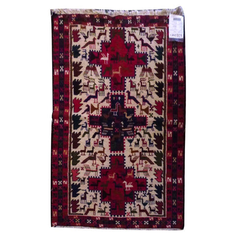 "PERSIAN MOGHAN  HAND-KNOTTED KILIM MADE WITH NATURAL WOOL AND COTTON 4'9"" X 3'5''  ABC278"