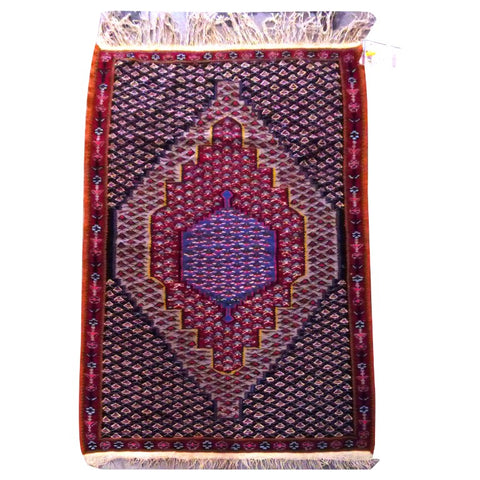"PERSIAN SANANDAJ  HAND-KNOTTED KILIM MADE WITH NATURAL WOOL AND COTTON 4'11"" X 3'10''  ABC24"