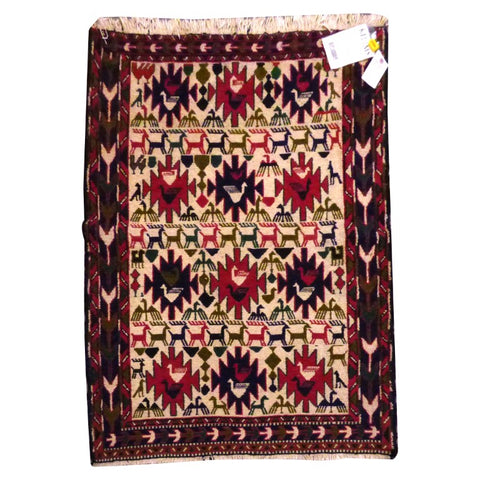 "PERSIAN MOGHAN  HAND-KNOTTED KILIM MADE WITH NATURAL WOOL AND COTTON 4'9"" X 3'5''  ABC281"