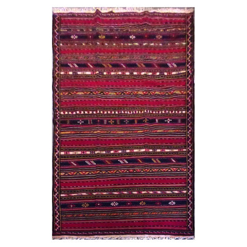 "PERSIAN MASHAD  HAND-KNOTTED KILIM MADE WITH NATURAL WOOL AND COTTON 10'9"" X 5'1''  ABC145"