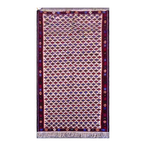 PERSIAN SANANDAJ  HAND-KNOTTED KILIM MADE WITH NATURAL WOOL AND COTTON 9'1'' X 4'0''  ABC250