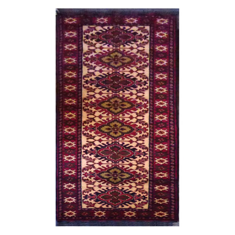 AFGHANI  HAND-KNOTTED RUG MADE WITH NATURAL WOOL AND COTTON 2'8'' X 9'9''  ABC150