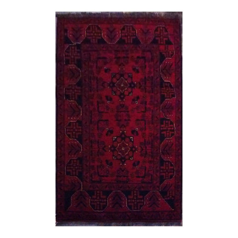 AFGHANI KABUL  HAND-KNOTTED RUG MADE WITH NATURAL WOOL AND COTTON 3'4'' X 5'1''  ABC4313