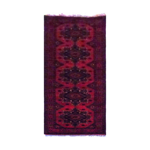 AFGHANI KABUL  HAND-KNOTTED RUG MADE WITH NATURAL WOOL AND COTTON 9'6'' X 2'5''  ABC4252