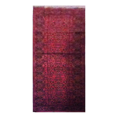 AFGHANI KABUL  HAND-KNOTTED RUG MADE WITH NATURAL WOOL AND COTTON 12'8'' X 2'7''  ABC4290