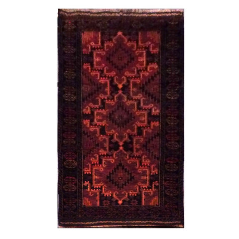 AFGHANI  HAND-KNOTTED RUG MADE WITH NATURAL WOOL AND COTTON 5' X 3'  ABC0