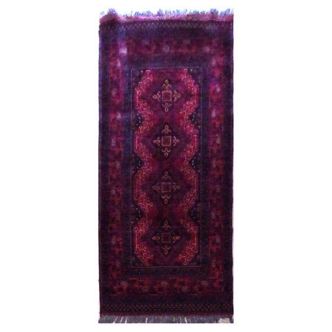 PAKISTANI  HAND-KNOTTED RUG MADE WITH NATURAL WOOL AND COTTON 6'4'' X 2'11''  ABC4556