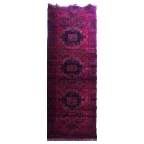 AFGHANI KABUL  HAND-KNOTTED RUG MADE WITH NATURAL WOOL AND COTTON 9'8'' X 2'7''  ABC4139
