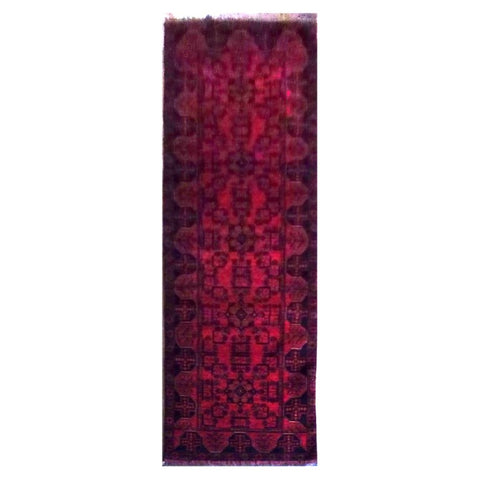 AFGHANI  HAND-KNOTTED RUG MADE WITH NATURAL WOOL AND COTTON 113 X 32 cm ABC0