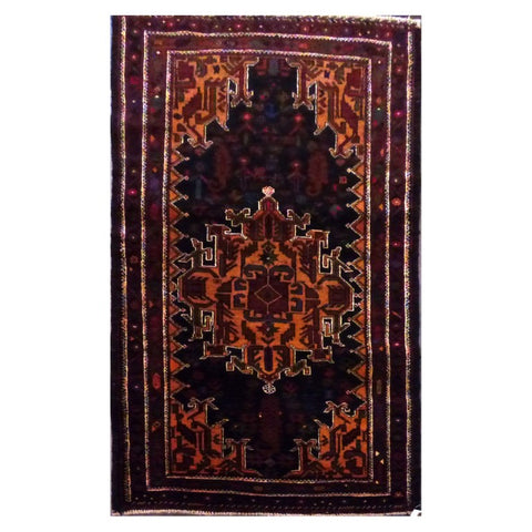 PAKISTANI  HAND-KNOTTED RUG MADE WITH NATURAL WOOL AND COTTON 140 X 79 cm ABC264