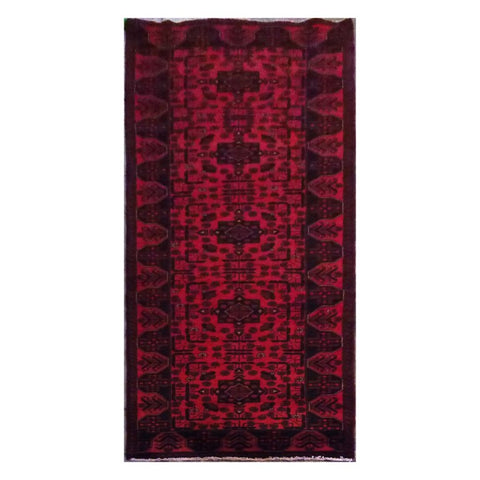 AFGHANI  HAND-KNOTTED RUG MADE WITH NATURAL WOOL AND COTTON 9'8'' X 2'9''  ABC21911