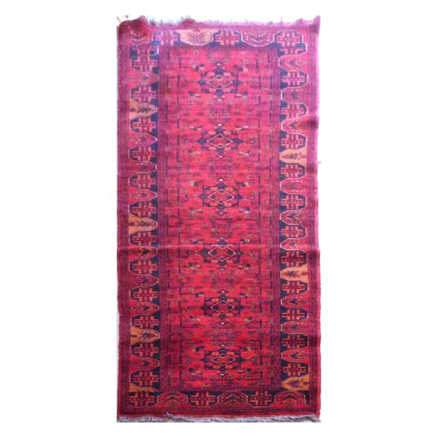 AFGHANI KABUL  HAND-KNOTTED RUG MADE WITH NATURAL WOOL AND COTTON 9'2'' X 2'6''  ABC4296