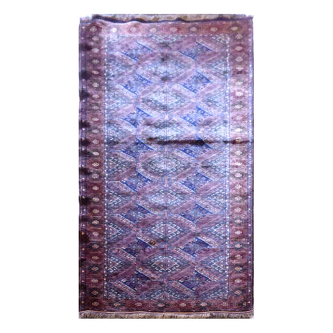 AFGHANI  HAND-KNOTTED RUG MADE WITH NATURAL WOOL AND COTTON 3'4'' X 9'2''  ABC20785