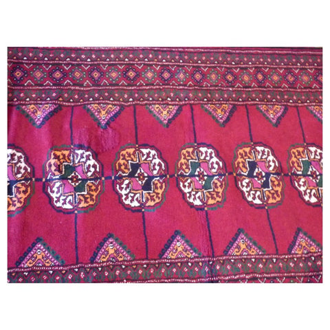 PAKISTANI BOKHARA HAND-KNOTTED RUG MADE WITH NATURAL WOOL AND COTTON 10'11'' X 2'9''  ABC2166