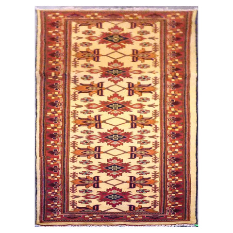 AFGHANI  HAND-KNOTTED RUG MADE WITH NATURAL WOOL AND COTTON 3' X 9'2'' ABC20715