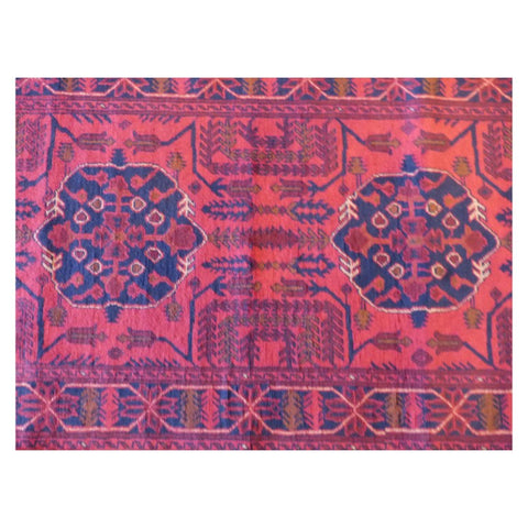 AFGHANI KABUL  HAND-KNOTTED RUG MADE WITH NATURAL WOOL AND COTTON 12'6'' X 2'10''  ABC4266