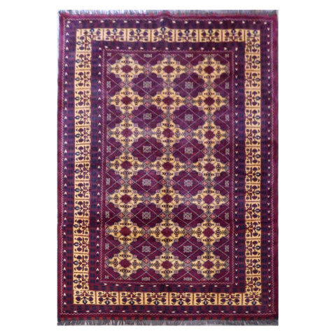 AFGHANI  HAND-KNOTTED RUG MADE WITH NATURAL WOOL AND COTTON 7'10'' X 5'7''  ABC7899