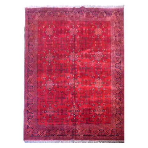 AFGHANI KABUL  HAND-KNOTTED RUG MADE WITH NATURAL WOOL AND COTTON 7'6'' X 5'10''  ABC4135