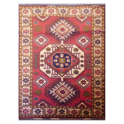 AFGHANI  HAND-KNOTTED RUG MADE WITH NATURAL WOOL AND COTTON 4'10'' X 7'  ABC2003