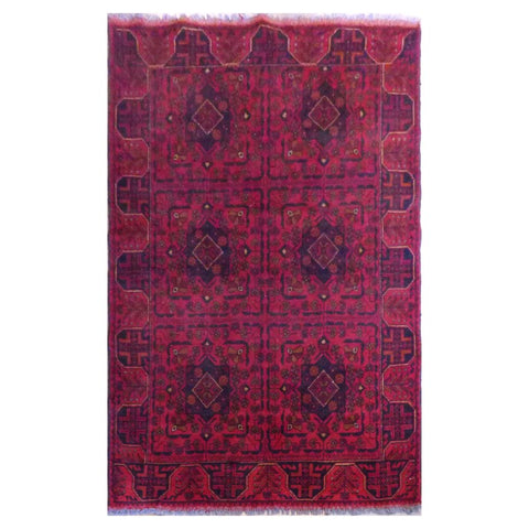 AFGHANI  HAND-KNOTTED RUG MADE WITH NATURAL WOOL AND COTTON 4' X 6'8''  ABC2078