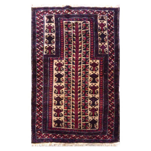 HAND-KNOTTED RUG MADE WITH NATURAL WOOL AND COTTON 3'4'' X 5'6'' ABC0