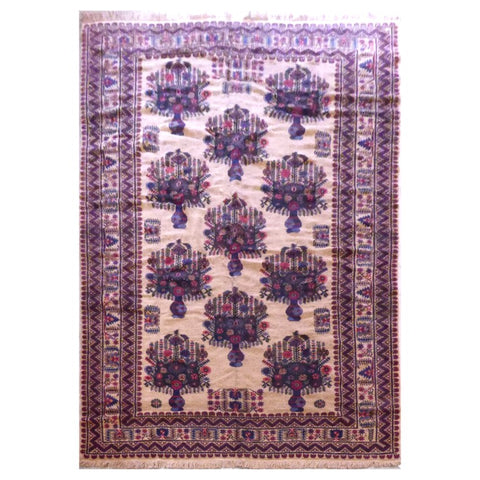 AFGHANI  HAND-KNOTTED RUG MADE WITH NATURAL WOOL AND COTTON 6'7'' X 9'7''  ABC1313002