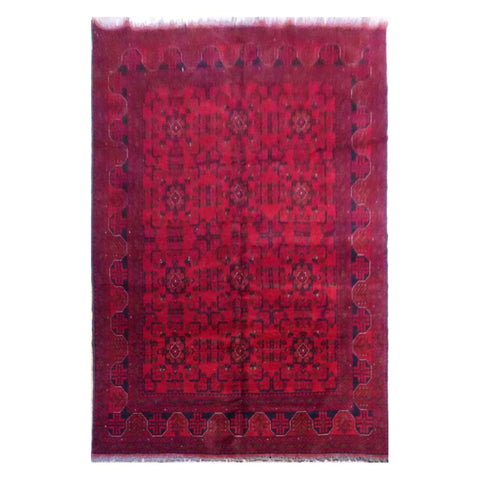 AFGHANI  HAND-KNOTTED RUG MADE WITH NATURAL WOOL AND COTTON 6'10'' X 9'8''  ABC4001