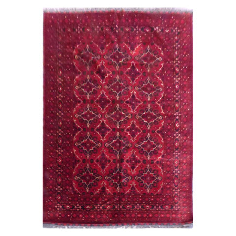 AFGHANI KABUL  HAND-KNOTTED RUG MADE WITH NATURAL WOOL AND COTTON 6'8'' X 9'8''  ABC4265