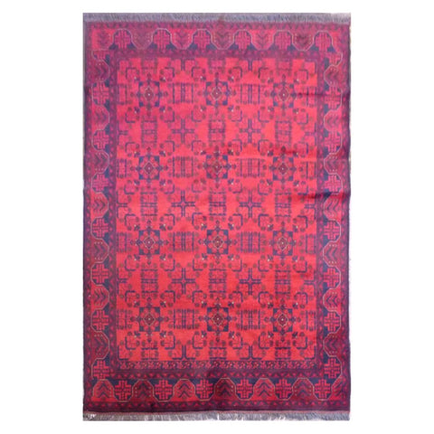AFGHANI KABUL  HAND-KNOTTED RUG MADE WITH NATURAL WOOL AND COTTON 7'7'' X 5'8''  ABC4134