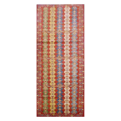 AFGHANI  HAND-KNOTTED RUG MADE WITH NATURAL WOOL AND COTTON 2'8'' X 12'5''  ABC2074
