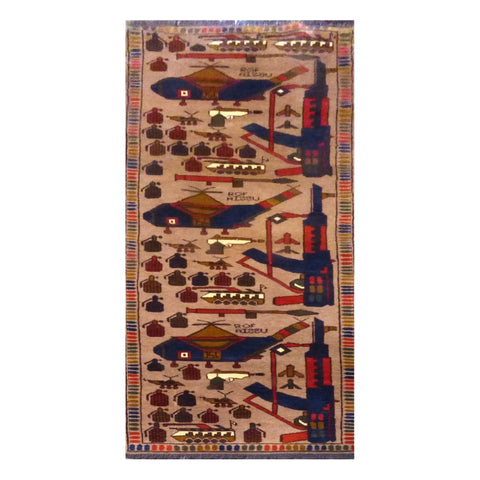 PAKISTANI  HAND-KNOTTED RUG MADE WITH NATURAL WOOL AND COTTON 2'4'' X 8'4''  ABC4528